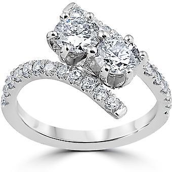 """1 cttw יהלום 2 אבן לנצח ארה""""ב טבעת יום השנה 14k זהב לבן"""