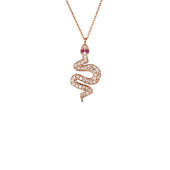 Pink Snake Serpent Animal Egyptian CZ Gemstone Rose Gold Chain Pendant Necklace