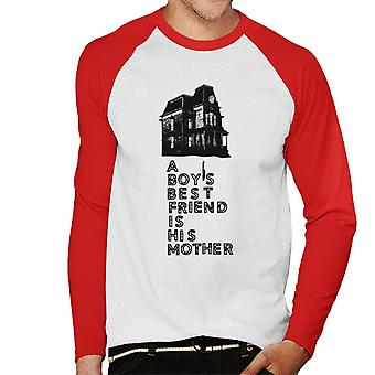 Psycho A Boys Best Friend Is His Mother Men''s Baseball Long Sleeved T-Shirt