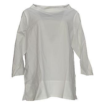 Martha Stewart Mujeres's Cuello de embudo superior 3/4 manga blanca A353799