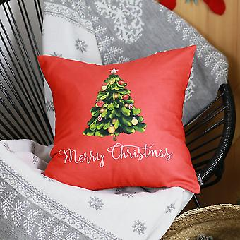 Printed Merry Christmas Tree Decorative Throw Pillow Cover