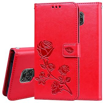 For Xiaomi Redmi Note 9 Pro Rose Embossed Horizontal Flip PU Leather Case with Holder & Card Slots & Wallet(Red)