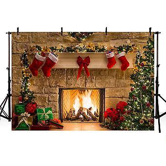 Mehofoto veselý Štědrý den foto studio pozadí vánoční stromky vánoční krb dárky červený luk stoc