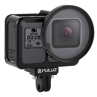 PULUZ Housing Shell CNC Aluminum Alloy Protective Cage with Insurance Frame & 52mm UV Lens for GoPro HERO7 Black /6 /5(Black)