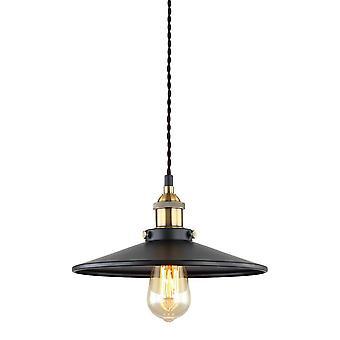 Italux Verda - Industrie und Retro hängen Anhänger schwarz, Gold 1 Licht mit schwarzen Schatten, E27