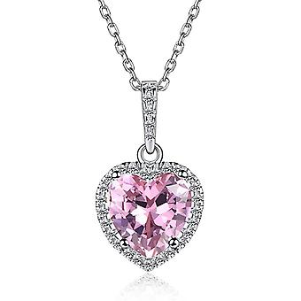 925 Sterling Silver 12 Month Shape of My Heart Birthstone Necklace