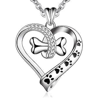 AEONSLOVE Dog Necklace Sterling Silver Pet Bone Paw Print Animal Necklaces