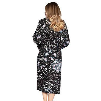 Cyberjammies Hannah 4733 Women's Black Ditsy Floral Cotton Robe