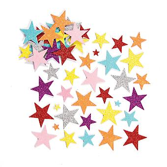 Baker ross glitter star foam stickers (pack of 150) for kids arts and crafts