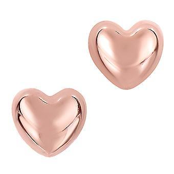 14 k ゴールドの光沢のあるパフ心臓形状スタッド イヤリング 7 x 8 mm