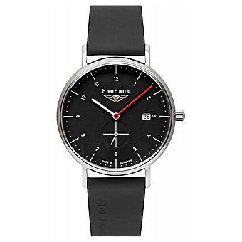 Bauhaus Heren Zwart Italiaans Lederen Band | Zwart wijzerplaat 2130-2 horloge