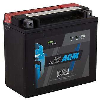 intAct YTX20-BS Maintenance Free AGM Bike-Power Battery