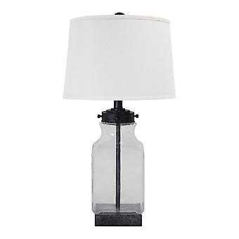 Smoky Glass Frame Table Lamp With Fabric Shade, Light Gray And Clear