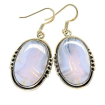 "Blue Lace Agate Earrings 1 5/8"" (925 Sterling Silver)  - Handmade Boho Vintage Jewelry EARR411117"