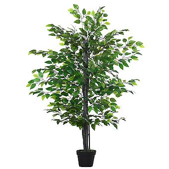 Outsunny 145cm Artificial Banyan Plant Faux Decorative Tree w/ Cement Pot Vibrant Greenery Shrubbery Indoor Outdoor Business Accessory
