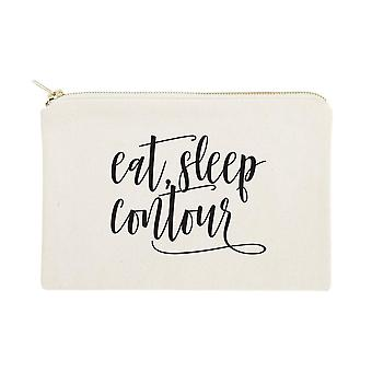 Eat, Sleep, Contour-cotton Canvas Cosmetic Bag