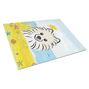 Caroline's Treasures Bb2075Lcb Pomeranian Summer Beach Glass Cutting Board, Grande, Multicolore