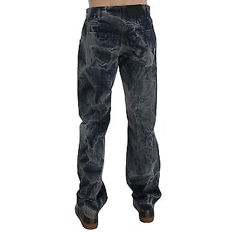 Exte Blue Wash Cotton Regular Fit Marble Effect Jeans