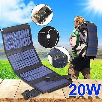 Painel solar dobrável USB de 20W flexível Pequenas células de painéis solares dobráveis de 5V à prova d'água para carregador de bateria do smartphone