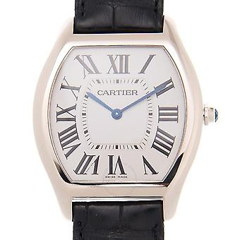 Cartier Tortue Silver Dial 18k White Gold Men&s Watch WGTO0003
