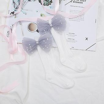 Toddlers Flower Bows Knee High Long Soft Cotton Baby Socks