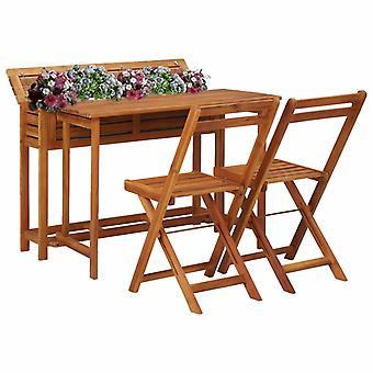 Mesa de jardinero de balcón con 2 sillas bistro de madera de acacia maciza