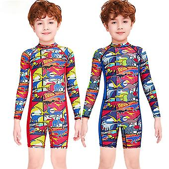 Kids wetsuit long sleeve one piece uv protection thermal swimsuit dfse-3