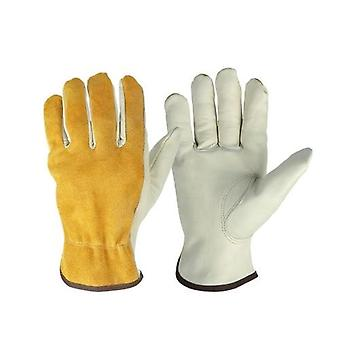 2pcs/Pack Cowhide Leather Men Working Welding Gloves