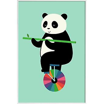 JUNIQE Print -  Learn To Balance Your Life - Pandas Poster in Bunt & Grün