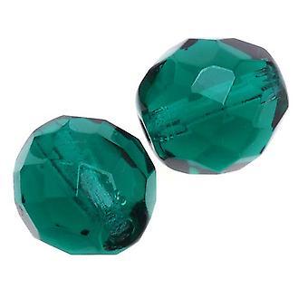 TšekkiLäinen tuli kiillotettu lasi läjät 10mm pyöreä smaragdi (12)