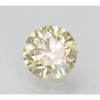 Cert 1.50 Carat Light Yellow SI1 Round Brilliant Enhanced Natural Diamond 7.09mm