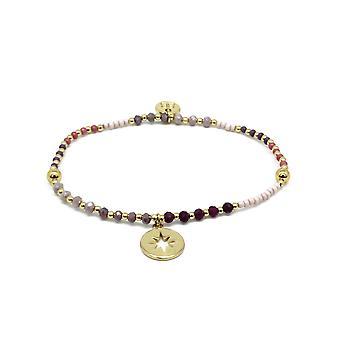 Boho betty flute pink & gold gemstone stretch bracelet