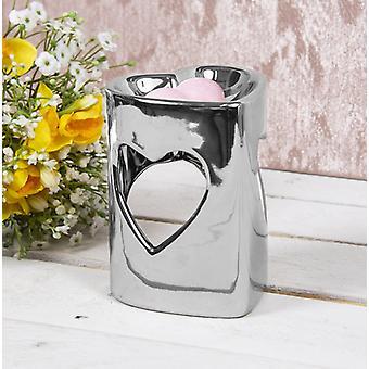 Ceramic Wax/oil Warmer Silver Heart Design by Lesser & Pavey