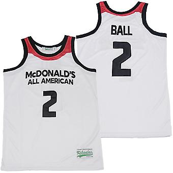 Men's Lonzo Ball #2 Mcdonald's Basketball Jersey Sports T Shirt S-xxl,fashion 90s Hip Hop Clothing For Party, Stitched Letters And Numbers