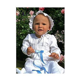 Vestido de bautizo en lino blanco con mangas largas