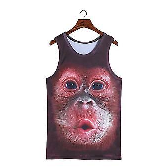 Adorável Pout Stereoscópico 3d Monkey Print Vest T-shirt Sleeveless Men Top