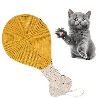 Pet Cat Sisal Scratch Board Cute Chicken Leg Shape Kitten Mat Protector Paw Grinding Tools