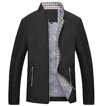 Men's Stand Collar Solid Color Slim Jacket Simple Fashion Jacket