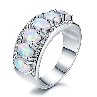 White Gold Plated Opal & Cubic Zirconia Ring