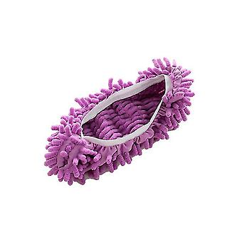 Mop Slippers Shoes Cover Soft Washable Reusable Cleaning The Floor(Purple)