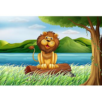 Tapeta Mural Lion na brzegu rzeki