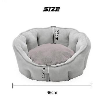 Pet Bed Winter Thickening Warmth Plush Nest Pad Cat Litter Kennel Soft Fluffy Round House(Grey)