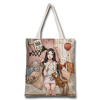Hada chica Mori estilo lona bolsa estudiante clase portable protección ambiental bolsa de compras