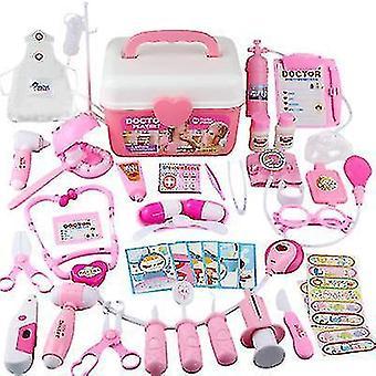 44pcs Doktor Spielzeug Kinderkrankenschwester Simulation Klinik Ausrüstung Medizinische Box Aufbewahrung Box Set (Pink)