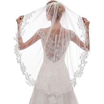 Damen Kurze Fingerspitze Länge Spitze Hochzeit Braut Schleier