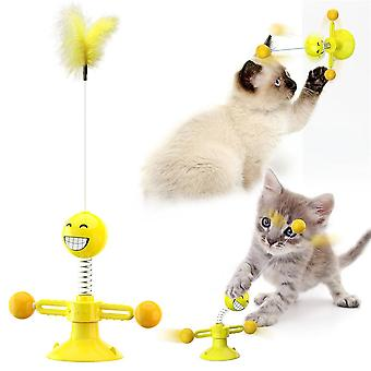 Cat Toy. Funny Cat Sticks To Relieve Boring Cats. Toy With Feather Turntable Ball. Sucker Spring Windmill Funny Cat Toy.