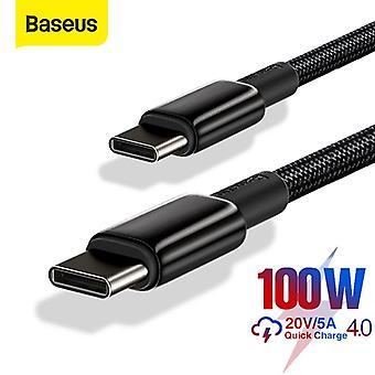Fekete USB C-C típusú gyorstöltés 4.0 USB C PD kábel Xiaomi Samsung Macbook pro adatkábelhez