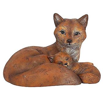 Holiday ornament displays stands mother and baby fox ornament