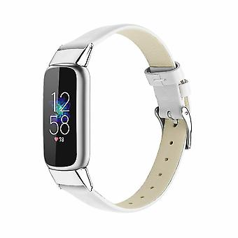for Fitbit Luxe / Special Edition Band Strap Genuine Leather Replacement Wrist[White]