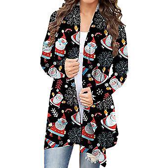 Women Christmas Open Front Coat Long Sleeve Xmas Cardigan Jacket Tops